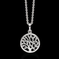Livets Træ sølv halskæde rhodineret livets træ i cirkel.