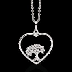 Livets Træ sølv halskæde rhodineret cirkel med livets træ 15mm vedhæng.