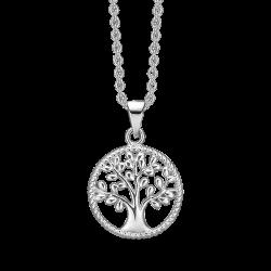 Livets Træ sølv halskæde rhodineret cirkel med livets træ. Mål: 15 mm. i diameter.