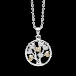 Livets Træ sølv halskæde rhodineret/forgyldt mat/blank cirkel med livet træ af hjerter og med syntetiske cubic zirconia.