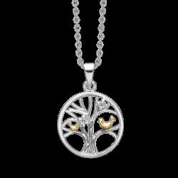 Livets Træ sølv halskæde rhodineret/forgyldt mat/blank cirkel med fugle og med syntetiske cubic zirconia.