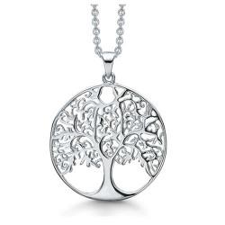 Livets Træ sølv halskæde rhodineret cirkel med livets træ. Kæden er længde 42-45 cm.