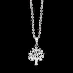 Livets Træ sølv halskæde rhodineret livets træ med syntetiske cubic zirconia. Kæden er rhodineret sølv i længde 42-45 cm.