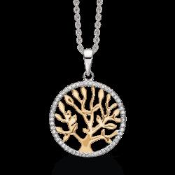 Livets Træ sølv halskæde rhodineret livets træ med syntetisk cubic zirconia og forgyldt træ.
