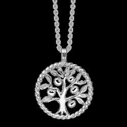 Livets Træ sølv halskæde rhodineret snoet cirkel med livets træ.
