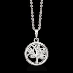 Livets Træ sølv halskæde rhodineret rund med livets træ og syntetiske cubic zirconia. Kæden er rhodineret sølv.