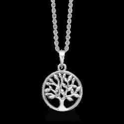 Livets Træ Sølv halskæde rhodineret livets træ i cirkel. Kæden er rhodineret sølv.