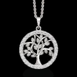 Livets Træ Sølv halskæde rhodineret Livets træ med syntetiske cubic zirconia i ring omkring.