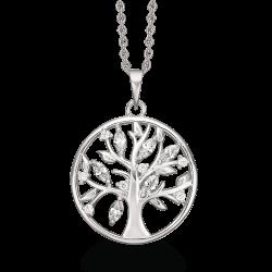 Livets Træ sølv halskæde rhodineret livets træ i cirkel med blade af syntetiske cubic zirconia.