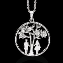 Livets Træ sølv halskæde rhodineret livets træ med syntetiske cubic zirconia som blade og en kvinde og en mand.
