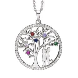 Livets Træ sølv halskæde rhodineret livets træ med syntetiske cubic zirconia i forskellige farver i kanten og som blade med 2 mennesker.