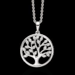 Livets Træ Sølv halskæde rhodineret livets træ hvor bladene er syntetiske cubic zirconia.