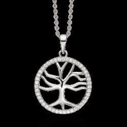 Livets Træ Sølv halskæde rhodineret livets træ med syntetiske cubic zirconia i cirkel kanten