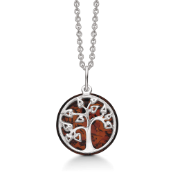 Livets Træ Sølv halskæde rhodineret livets træ med rav.