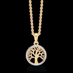 Livets Træ 8 kt. guld halskæde livets træ i cirkel. Kæden er sølvforgyldt.