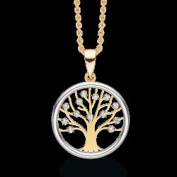 Livets Træ 8 kt. guld halskæde Livets træ i cirkel med syntetiske cubic zirconia på grene.