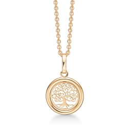 Livets Træ 8 kt. guld halskæde cirkel med livets træ.