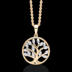 Livets Træ 8 kt. guld halskæde livets træ med blade i rhodium og med syntetiske cubic zirconia.