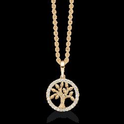 Livets Træ 8 kt. guld halskæde livets træ i cirkel med syntetiske cubic zirconia.