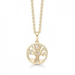 Livets Træ 8 kt. guld halskæde livets træ med syntetiske cubic zirconia.