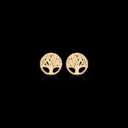 Livets Træ 14 kt. guld ørestikker cirkel med livets træ. Ø: 6,63 mm.