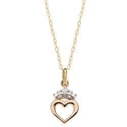 Disney Princess 9 kt. guld halskæde krone med hjerte. Kæden er sølvforgyldt i længde 38 cm