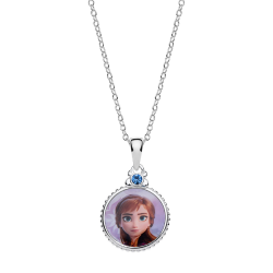 Disney Frost sølv halskæde cirkel med Anna. og syntetisk cubic zirconia på toppen.