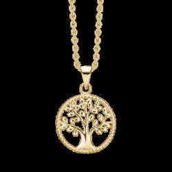 Livets Træ sølvforgyldt halskæde rhodineret cirkel med livets træ. Ø: 15 mm.