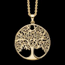Livets Træ sølvforgyldt halskæde cirkel med livets træ. Kæden er længde 42-45 cm.