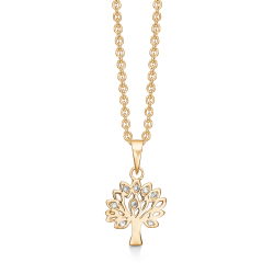 Livets Træ sølvforgyldt halskæde livets træ med syntetiske cubic zirconia. Kæden er sølvforgyldt.