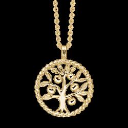 Livets Træ sølvforgyldt halskæde snoet cirkel med livets træ.
