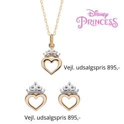 Disney smykkesæt halskæde og ørestikker i 9 kt. guld med krone med hjerte. Kæden er sølvforgyldt i længde 38 cm.