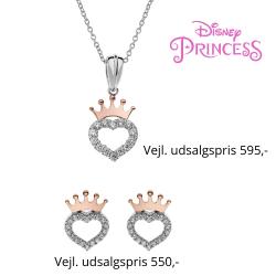 Disney Princess smykkesæt halskæde og ørestikker i sølv med rosa krone og hjerte med cubic zirconia sten.