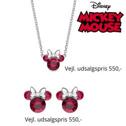 Disney smykkesæt halskæde og ørestikker i sølv med Minnie Mouse i rød med hvid sløjfe.