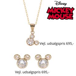 Disney smykkesæt 9 kt. guld halskæde og ørestikker Mickey Mouse med syntetisk cubic zirconia. Kæden er sølvforgyldt i længde 38 cm.