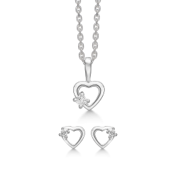 Sølv sæt hjerte med syntetisk cubic zirconia.